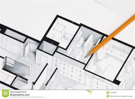 Nice House Plan Drawer #4: Sharp-orange-glazed-regular-pencil-isometric-floor-plan-real-estate-flat-interior-decoration-architecture-drawing-57316935.jpg