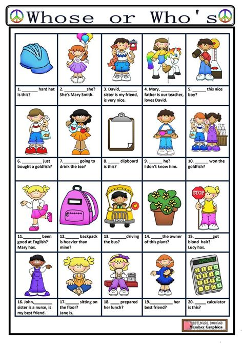 Who Worksheet whose or who s worksheet free esl printable worksheets