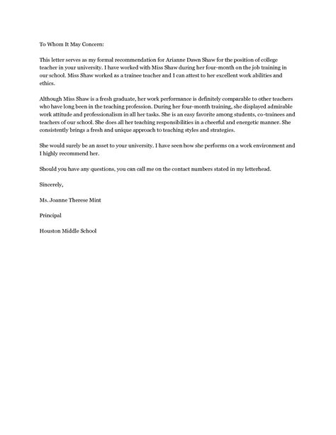 letter of recommendation elementary teacher letter of recommendation