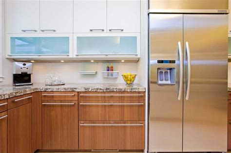 modern glass kitchen cabinets modern kitchen wth contrasting cabinetry and frosted glass
