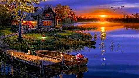 fiery sunset   lake painting art hd wallpaper