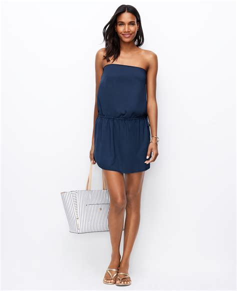 swimsuit cover up strapless swimsuit cover up in blue lyst
