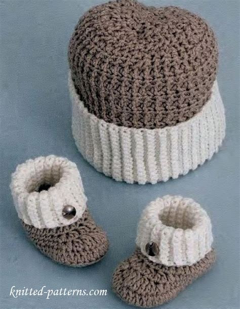 baby boy knitted hats pattern baby boy booties and hat crochet pattern free