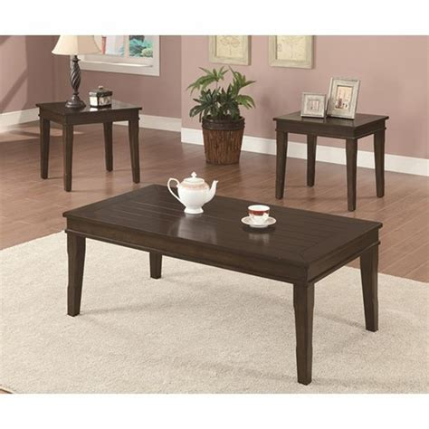 wood coffee table sets coaster jovana 702292 brown wood coffee table set a sofa furniture outlet los angeles ca