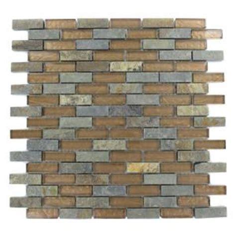 splashback tile tectonic brick multicolor slate and bronze