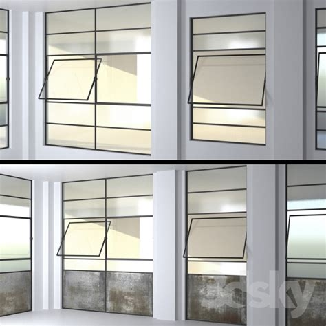 3d Models Windows Set 4 Steel Factory Windows Wired Wired Glass In Doors