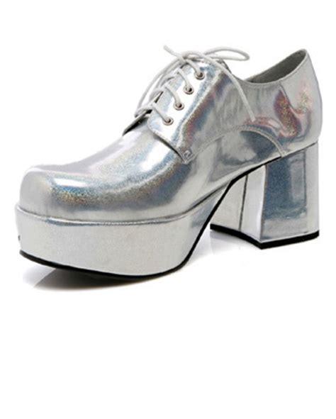 s 3 quot heel platform silver hologram disco shoes