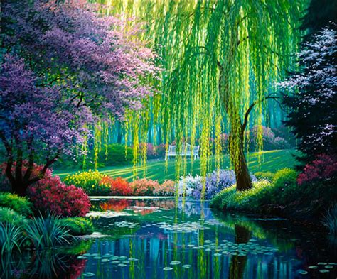 nature murals for walls the willow pond mural