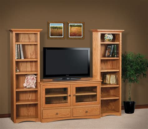 amish style solid wood tv stand with tower bookcase