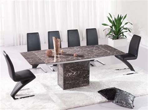 zeus brown grey marble extending dining table and 6 z chairs