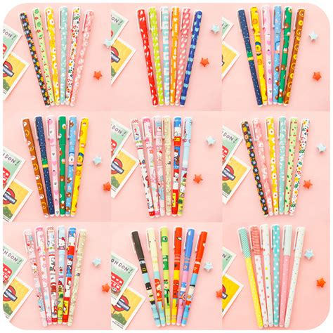 Korean Stationery Kawai Color Pen Pulpen Gel 6pcs set korean pens stationery creative flower pen color gel pen color pen suit in