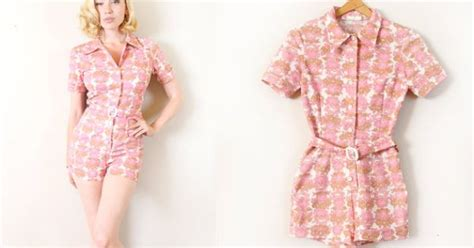 Nexx 38 D Romper Pink vintage 1960s romper 60s pink playsuit with matching belt pink rompers and pink playsuit