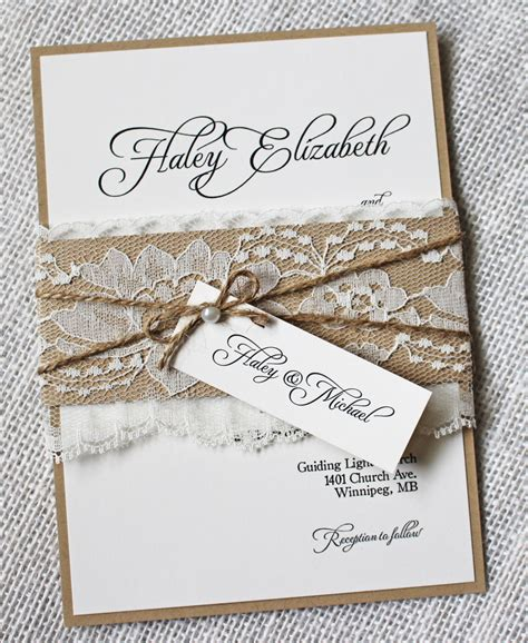 lace wedding invitations rustic wedding invitation elegant