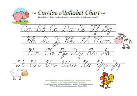 printable tracing letters cursive 6 best images of alphabet writing chart practice writing