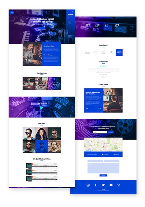 Recordings Recording Studio Sound Production Music Label Responsive Muse Template By Studio Label Templates