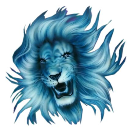 blue lion head tattoo design