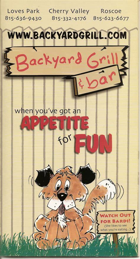 backyard grill and bar menu backyard grill and bar