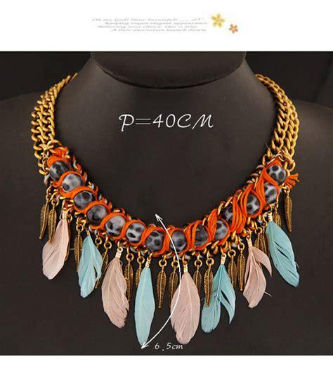 Kalung Fashion Decorated Tassel Design 3 fashion multicolor leaf feather shape decorated tassel design asujewelry