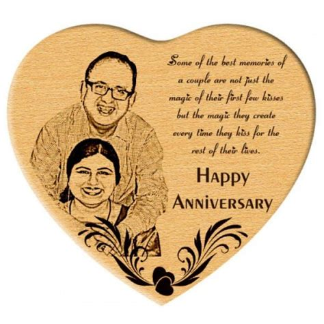 unique anniversary gift engraved photo in wooden heart