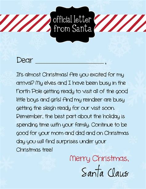 Official Santa Letterhead free letter from santa and card giveaway the o