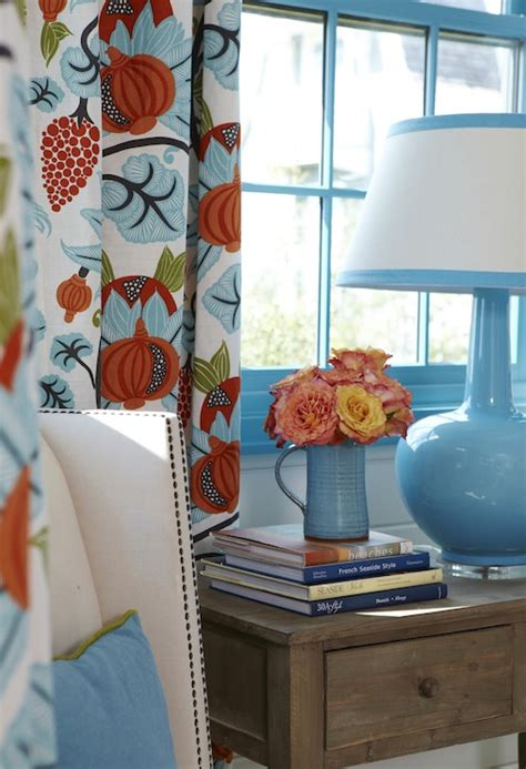 Orange And Blue Valance Blue And Orange Curtains Cottage Bedroom Tracery