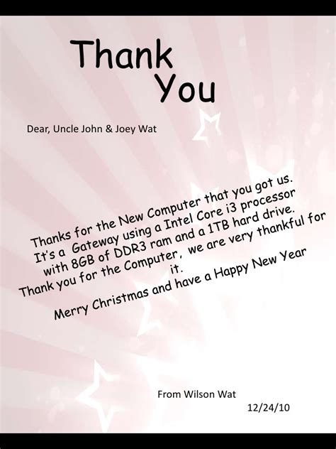 thank you letter to a dear thank you letter