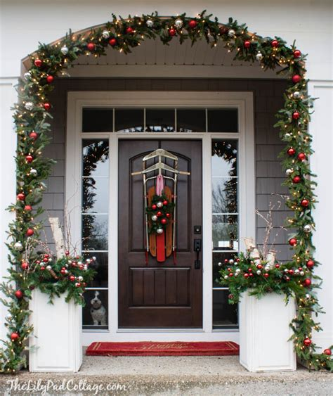 christmas front door decor vintage sled front door decor the lilypad cottage
