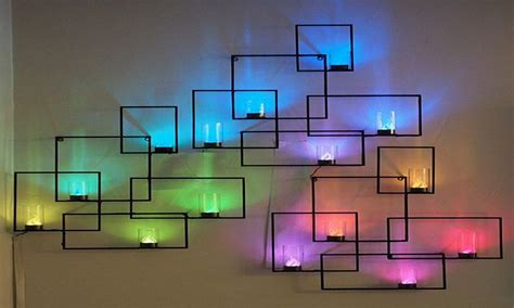 purple accent wall ideas wall decoration  led lights