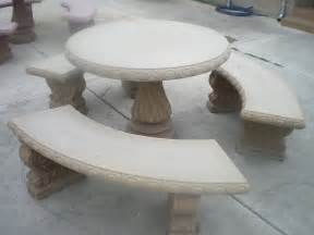 Concrete Patio Table And Benches Concrete Cement Colored Patio Picnic Table With Three Benches Ebay