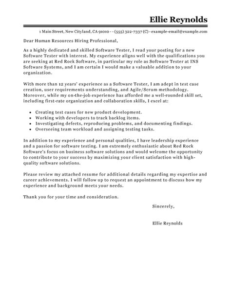 Restoration Company Introduction Letter Best Software Testing Cover Letter Exles Livecareer