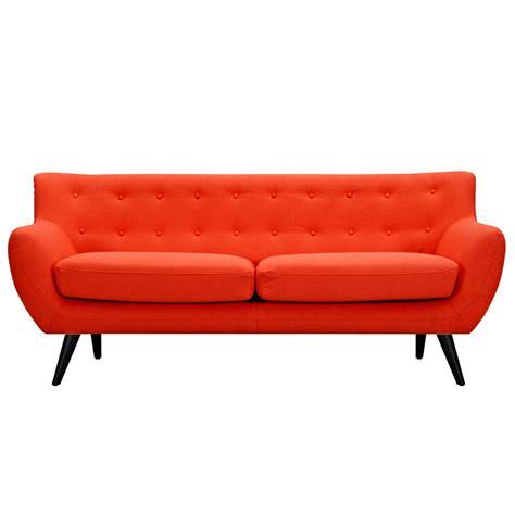 Orange Tufted Sofa by Ida Modern Orange Button Tufted Upholstered Sofa With