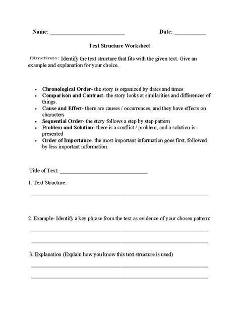 Text Structure Worksheets 5th Grade by Text Structure Worksheet Worksheets For School Getadating