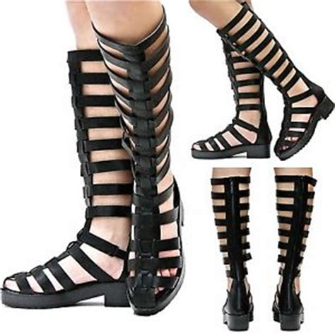 caged knee high sandals new womens bt2 black knee high strappy gladiator caged