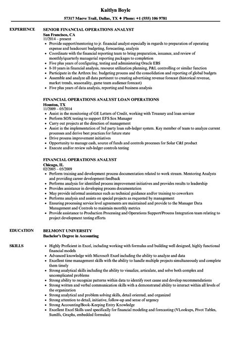 Financial Operations Analyst Resume by Financial Operations Analyst Resume Sles Velvet