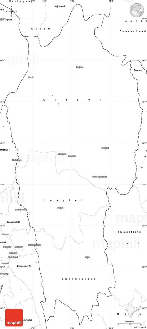 East India Map Outline by Blank Simple Map Of Mizoram