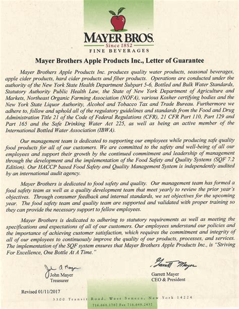 Guarantee Letter For Quality Mayer Brothers Apple Products Inc Mayer Brothers