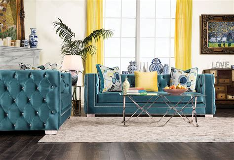 Turquoise Living Room Set Salvatore Turquoise Living Room Set Sm2282 Sf Furniture Of America