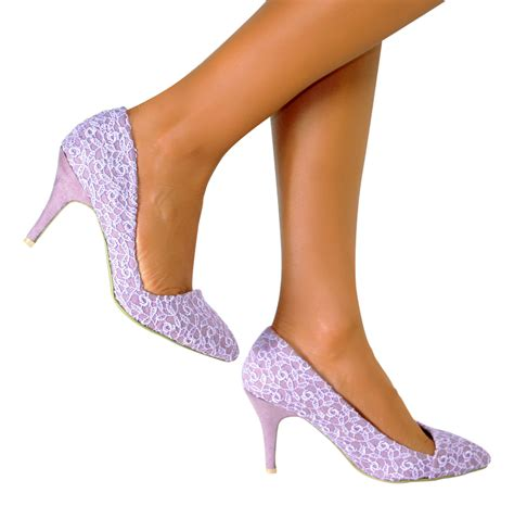 lace mid high heel wedding bridal evening prom