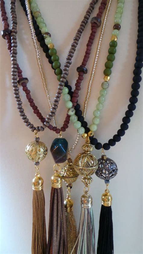 tassels for jewelry wood bead tassel necklace brown tassel necklace with gold