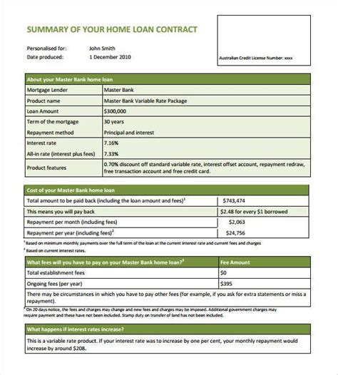 28 Loan Contract Templates Pages Word Docs Free Mortgage Loan Agreement Template