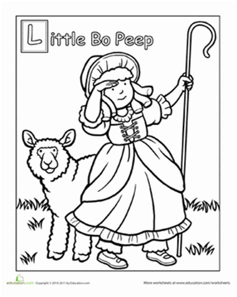 little bo peep coloring page education com