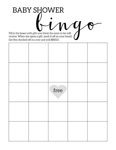 free baby shower bingo card template baby shower bingo printable cards template paper trail