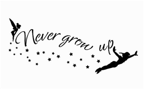 options for peter pan never grow up wording stencil