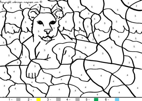 lion color by number coloring pages animal colouring by number free coloring pages of animal