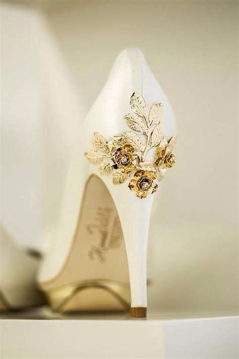 White And Gold Wedding Shoes by White Wedding Heels With Gold Leaf Embellishment Nuptial