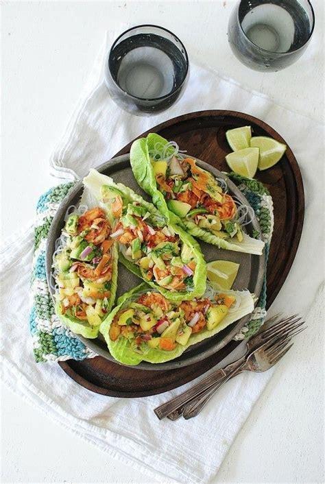 prawn taco boats fiery shrimp lettuce boats with an avocado mango relish