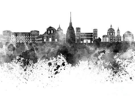 Duvet New York Turin Skyline In Black Watercolor On White Background
