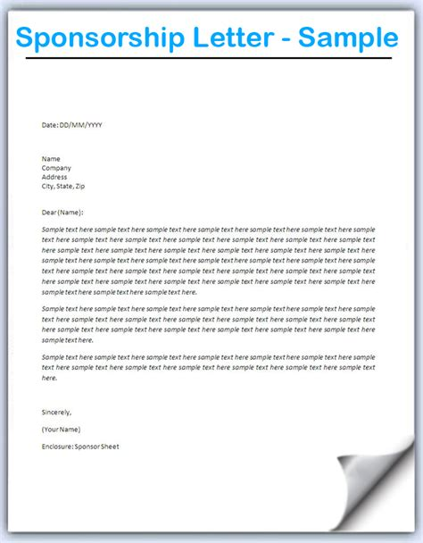Sponsorship Letter Format Doc 728546 How To Write A Letter Requesting Sponsorship