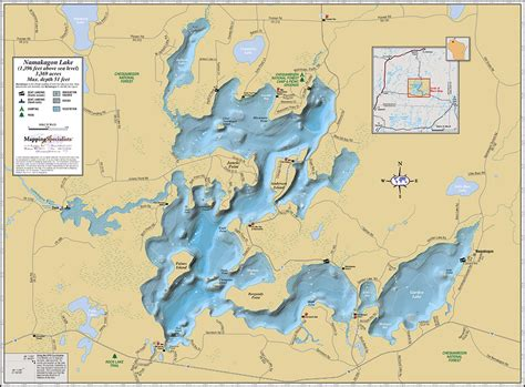 lake map namakagon lake wall map