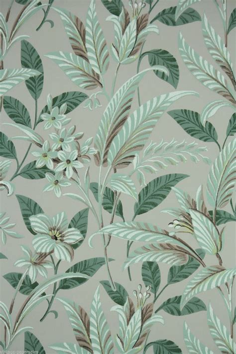 leaf pattern vintage 1950 s vintage wallpaper large tropical leaf green and